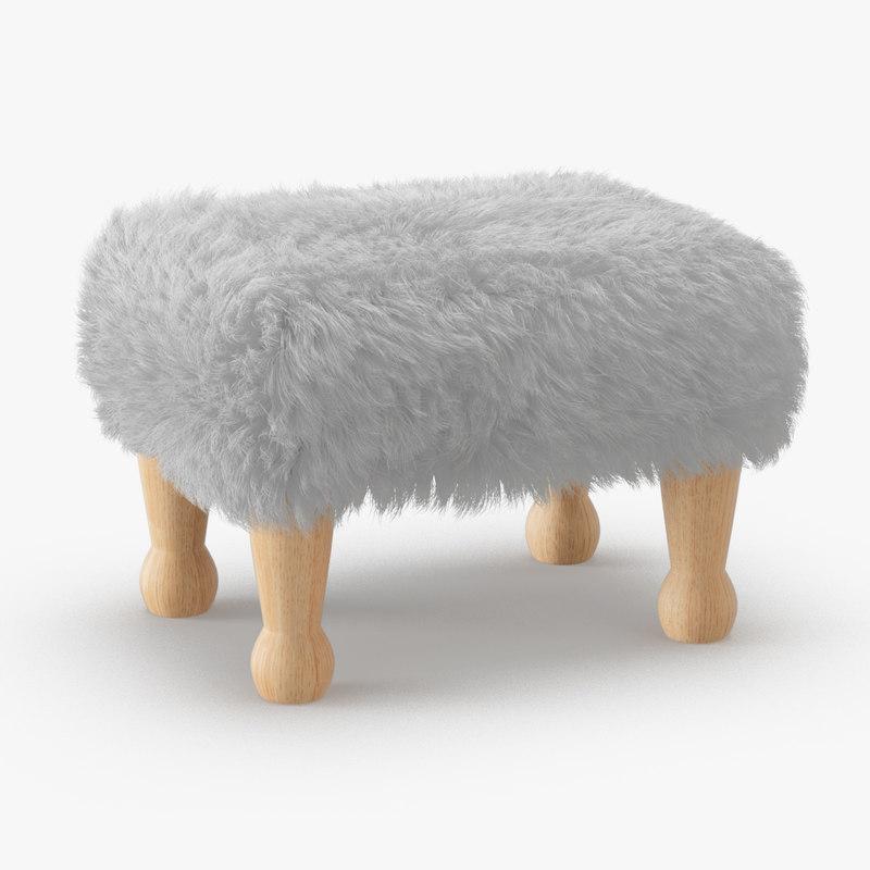 wool angharad sheepskin footstool 3D