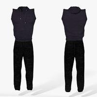 3D sleeveless hoodie sweatpants pants