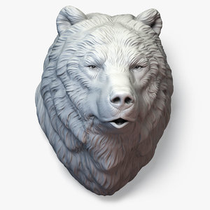 3D bear grizzly head sculpture