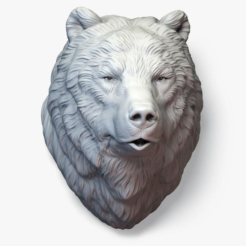3D bear grizzly head sculpture