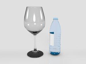 3D wine glass watter bottle model