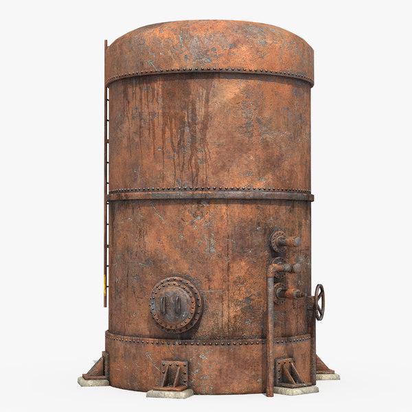 rusted metal silo model