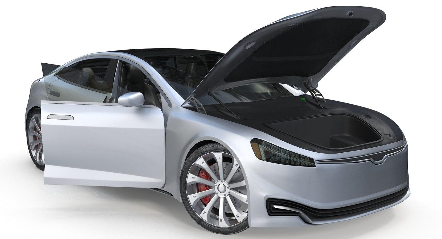 3D model generic electric sedan