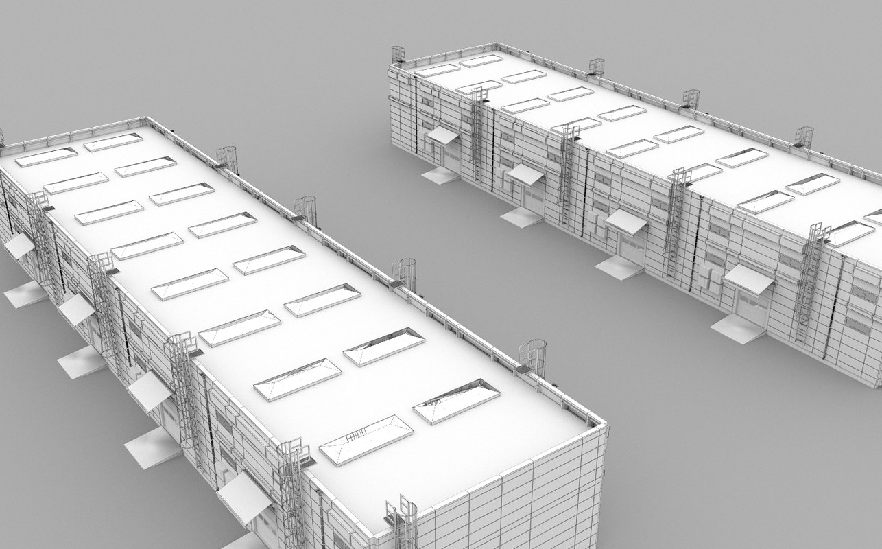 3D factory warehouse hangar model