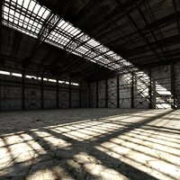 old hangar interior 3D model