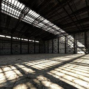 old hangar interior 3D model