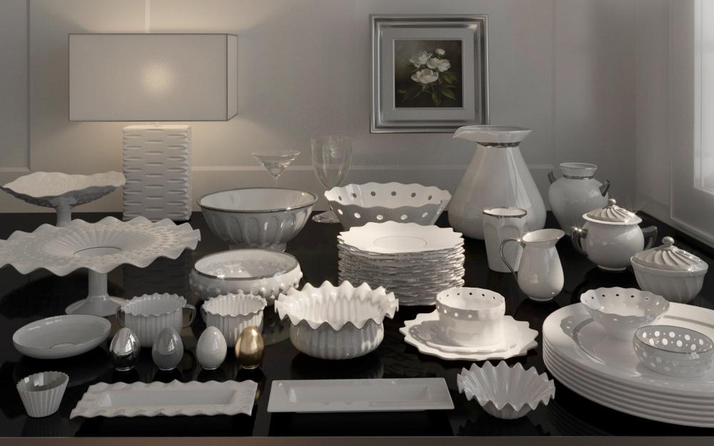 luxurious porcelain set dinnerware 3D model