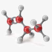 3D butene molecular model