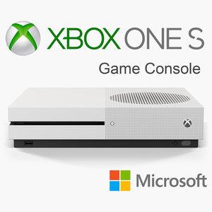 3D microsoft xbox s console