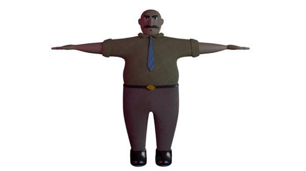 fat man cartoon character 3D model