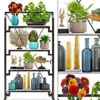 rack decor figurines plants 3D