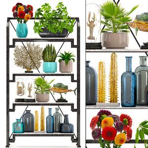 rack decor figurines plants 3D