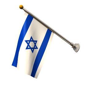 3D flag israel 25 pole model