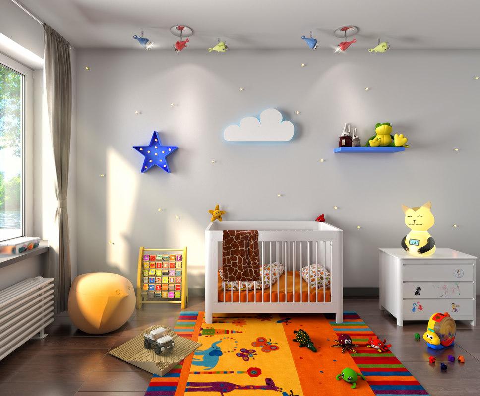 3D model interior bed kids