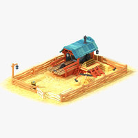 cartoon sawmill 3D model