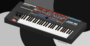 juno 106 roland synthesizer 3D model