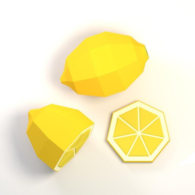 lemon cartoon 3D model