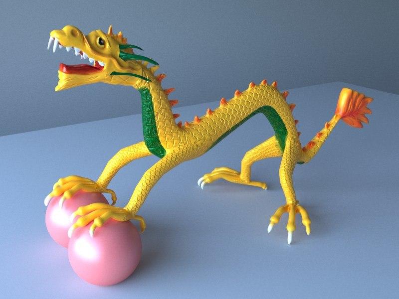 3D chinese dragon creature art
