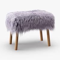 wool icelandic sheepskin stool 3D model