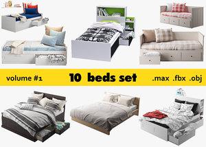 3D ikea 10 beds set model