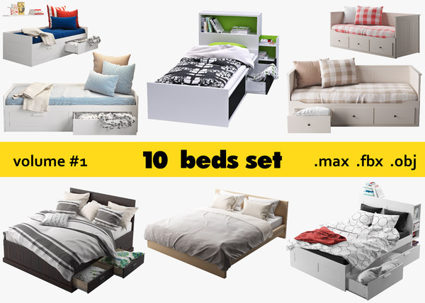 3D ikea 10 beds set model