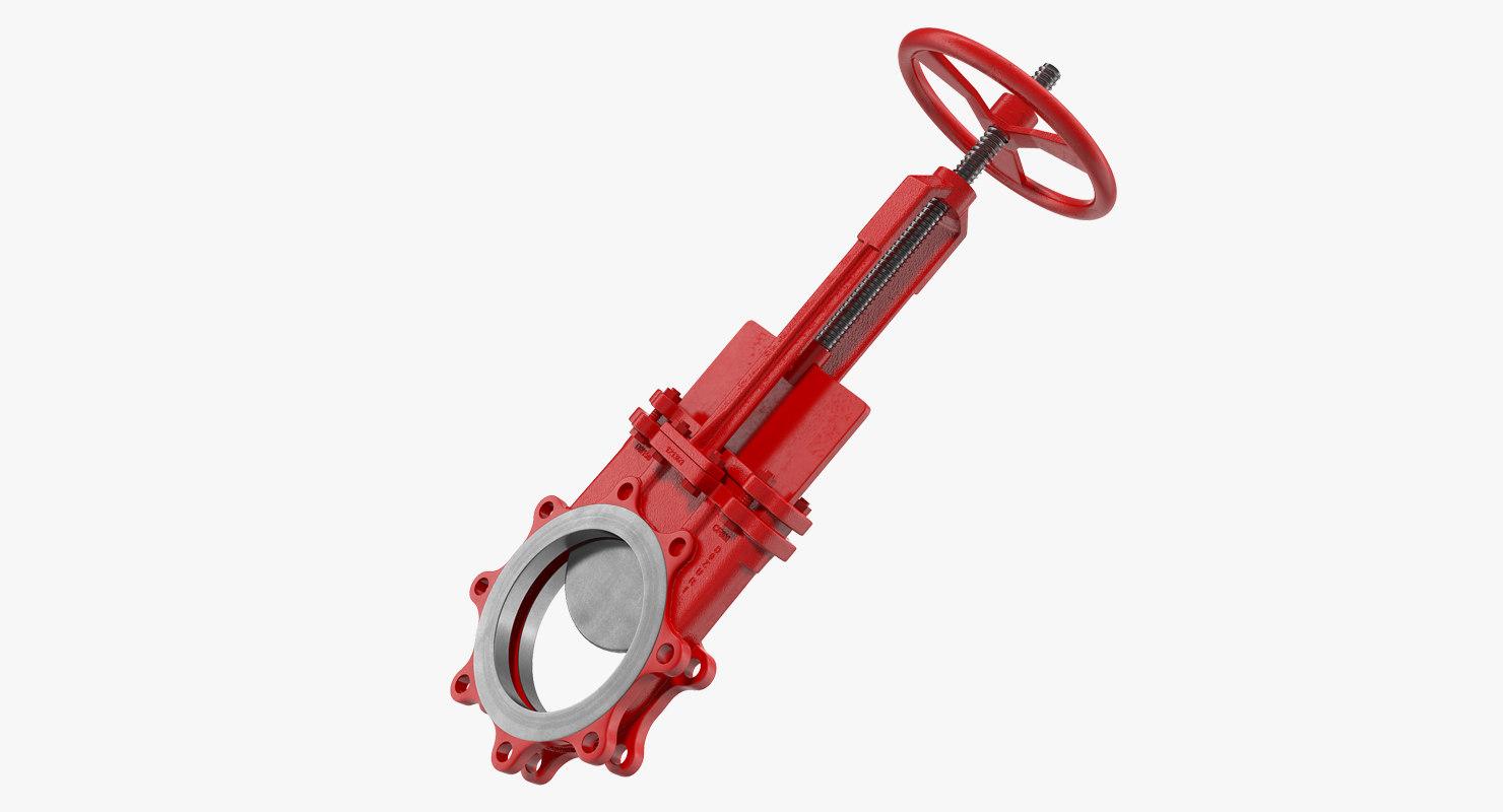 3D bidirectional knife gate valve model