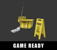 Mop Bucket Cart ( GAME READY )