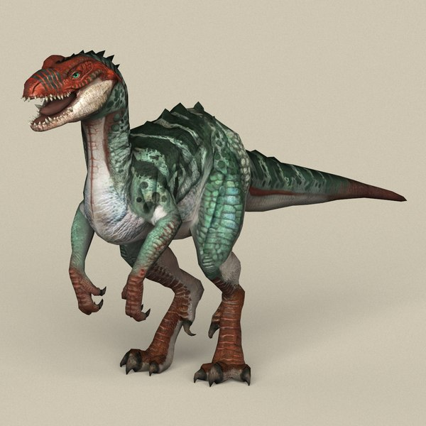 ready fantasy raptor dinosaur 3D model