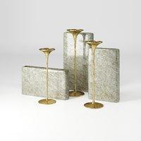 3D hand-hammered candlestick rectangular vase model