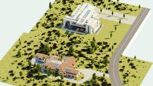 houses mansions double assets 3D model