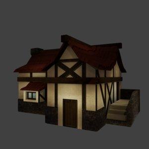 cartoon medieval house 3D