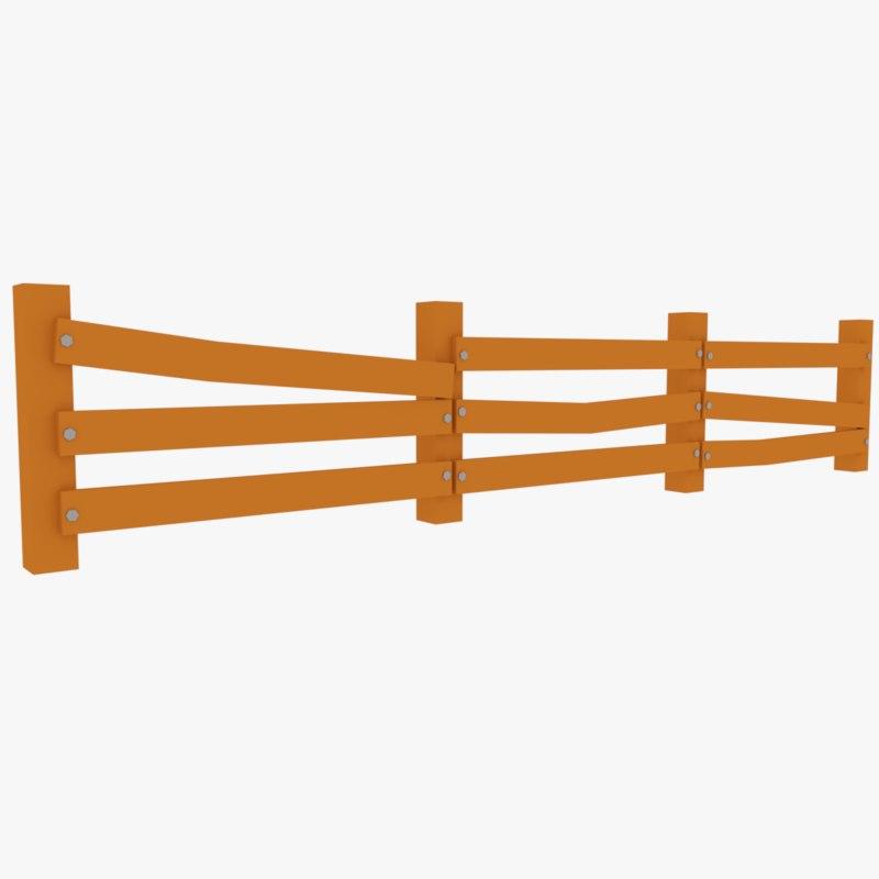 cartoon wooden fence 3D model