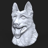 3D bas relief german shepherd model