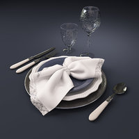 Tableware set of plates, glasses, cutlery and lace napkin