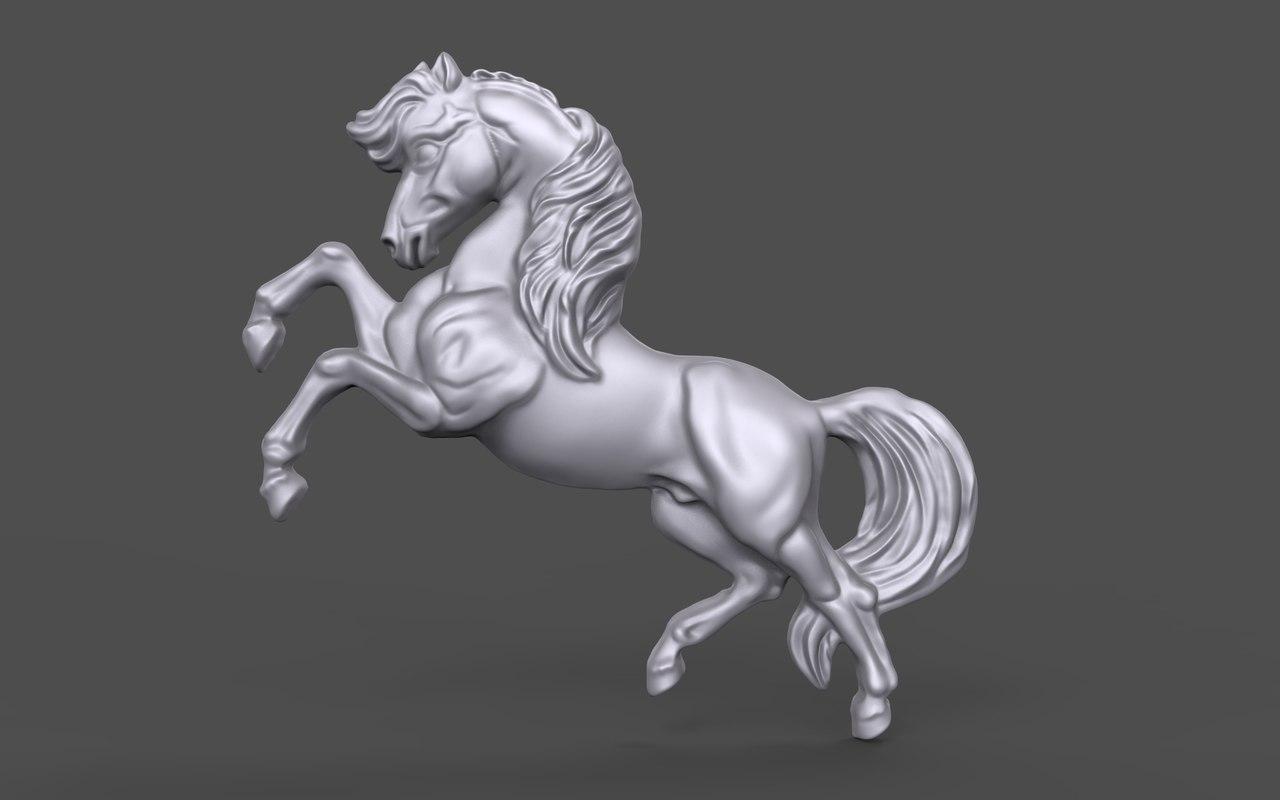 3D bas relief horse