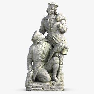 3D hunters sculpture