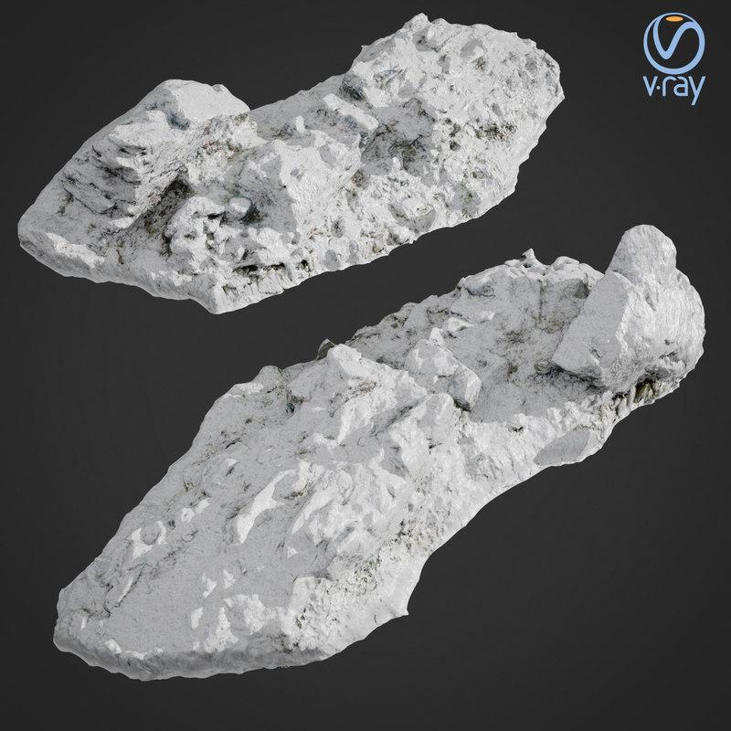 scanned rock cliff snow 3D model