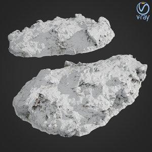 3D scanned rock cliff b model