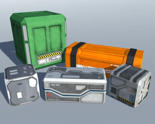 sci fi crates 3D model