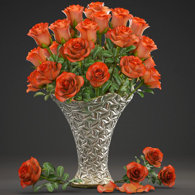 bouquet flowers roses 3D