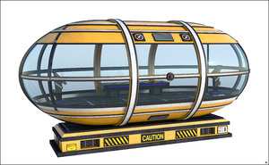 3D sci-fi cabine capsule model