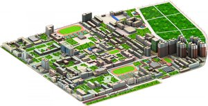 3D real city buildings