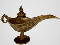 vintage the Genie's lamp PBR low poly