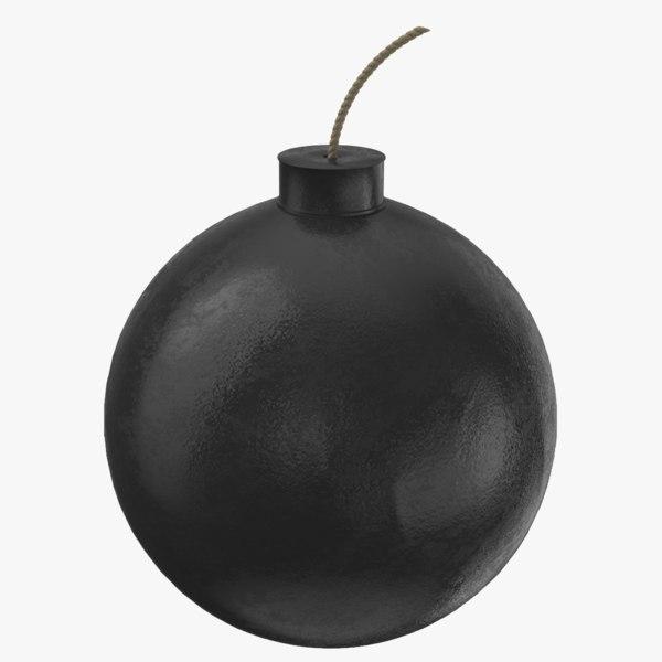 3D model black bomb fuse