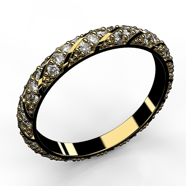 3D twist pave band gold ring model