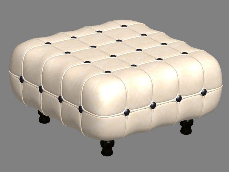 3D model square ottoman chair