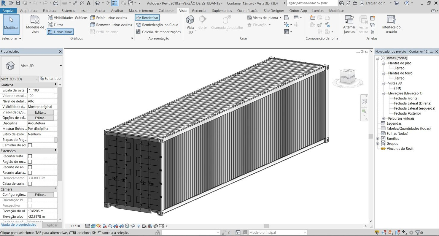 3D revit shipping container model