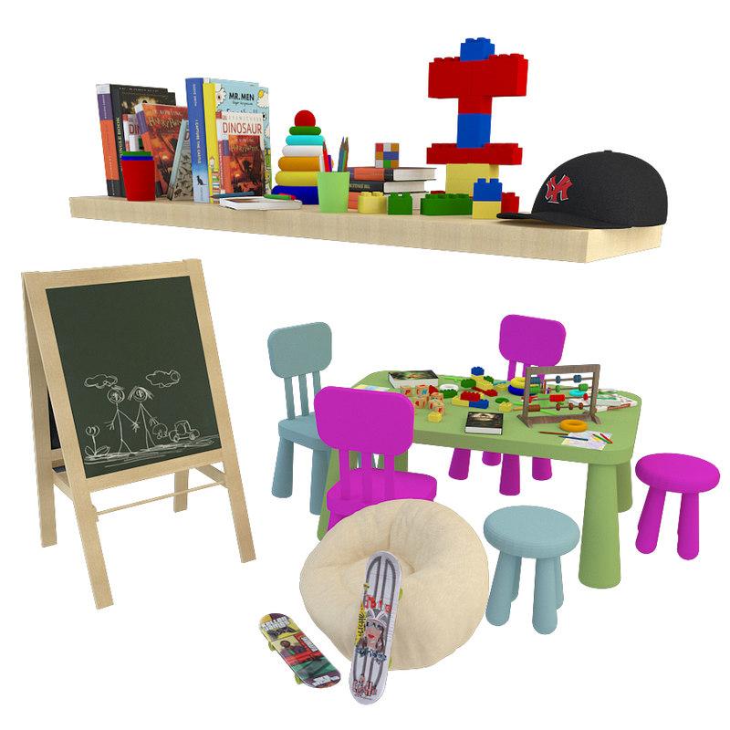 set children s toys 3D model