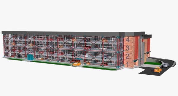 3D car parking building model