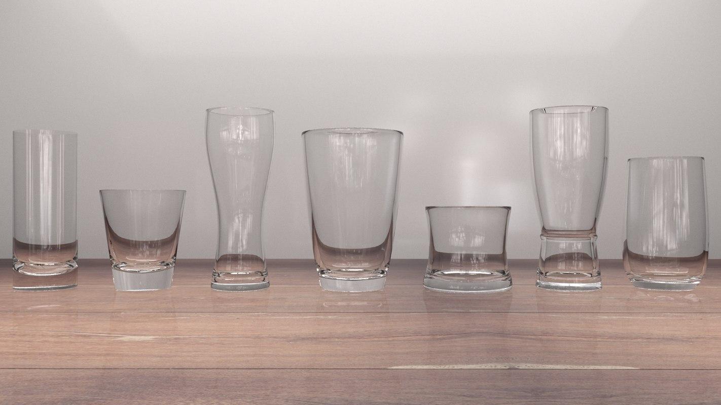 glass water set 3D model